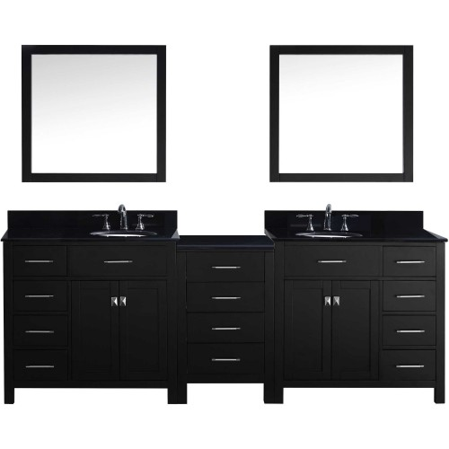"""Caroline Parkway 93"""" Double Bathroom Vanity in Espresso with Black Galaxy Granite Top and Round Sink with Mirrors"""