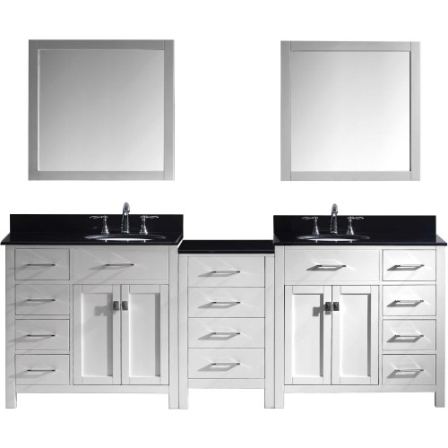 """Caroline Parkway 93"""" Double Bathroom Vanity in White with Black Galaxy Granite Top and Round Sink with Mirrors"""