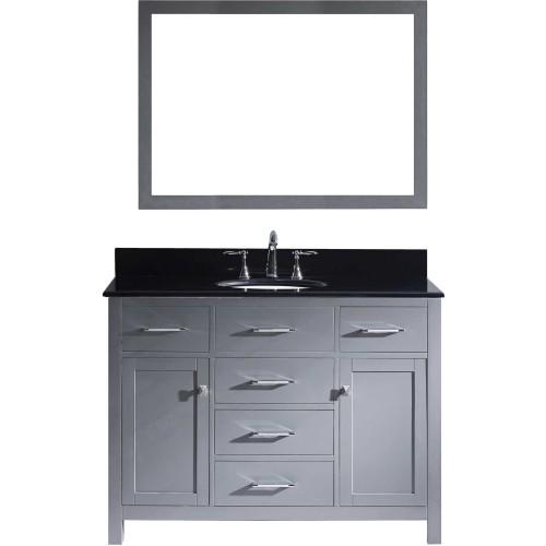 "Caroline 48"" Single Bathroom Vanity in Grey with Black Galaxy Granite Top and Round Sink with Mirror"