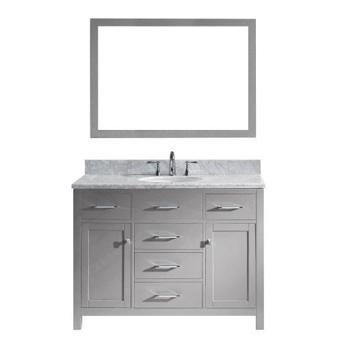 "Caroline 48"" Single Bathroom Vanity in Cashmere Grey with Marble Top and Round Sink with Mirror"