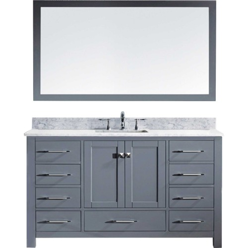 "Caroline 60"" Single Bathroom Vanity in Grey with Marble Top and Round Sink with Mirror"
