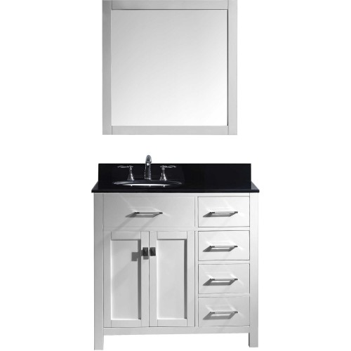"Caroline Parkway 36"" Single Bathroom Vanity in White with Black Galaxy Granite Top and Round Sink with Mirror"