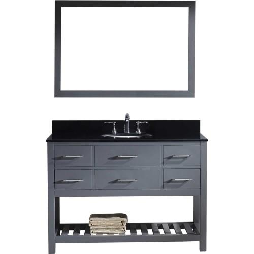 "Caroline Estate 48"" Single Bathroom Vanity in Grey with Black Galaxy Granite Top and Round Sink with Mirror"