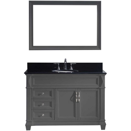"Victoria 48"" Single Bathroom Vanity in Grey with Black Galaxy Granite Top and Round Sink with Mirror"