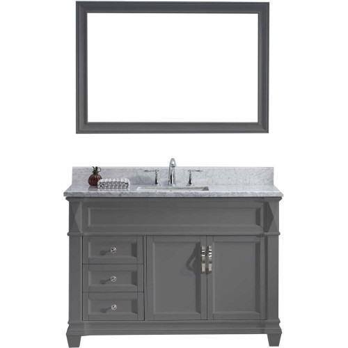 "Victoria 48"" Single Bathroom Vanity in Grey with Marble Top and Square Sink with Mirror"