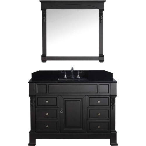 """Huntshire Manor 48"""" Single Bathroom Vanity in Dark Walnut with Black Galaxy Granite Top and Square Sink with Mirror"""