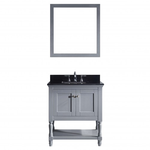 "Julianna 32"" Single Bathroom Vanity in Grey with  Top and Square Sink with Mirror"