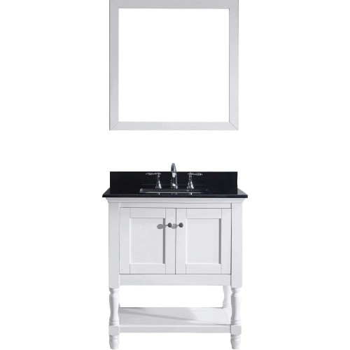 """Julianna 32"""" Single Bathroom Vanity in White with  Top and Square Sink with Mirror"""