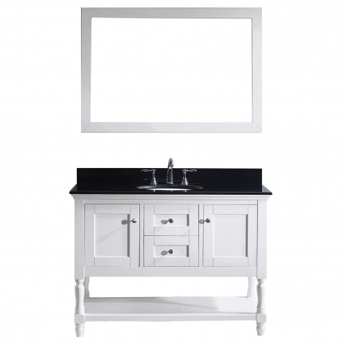 """Julianna 48"""" Single Bathroom Vanity in White with Black Galaxy Granite Top and Round Sink with Mirror"""