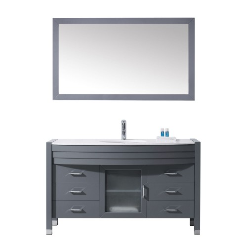 "Ava 55"" Single Bathroom Vanity in Grey with White Engineered Stone Top and Round Sink with Polished Chrome Faucet and Mirror"