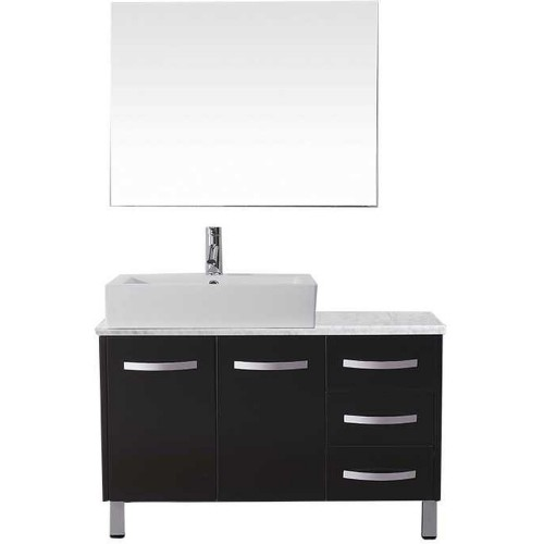 "Tilda 36"" Single Bathroom Vanity in Espresso with Marble Top and Square Sink with Polished Chrome Faucet and Mirror"