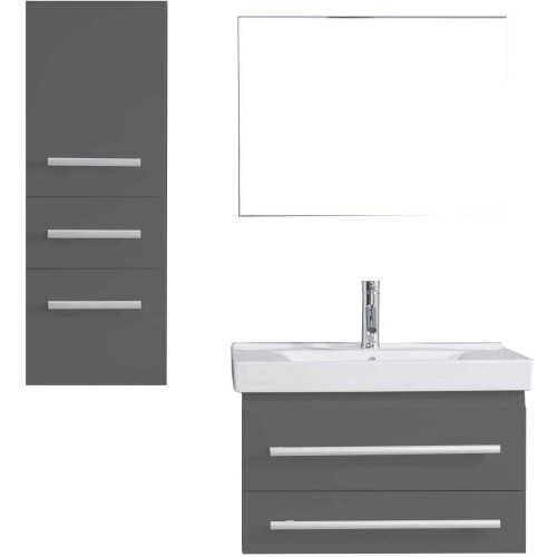 """Antonio 30"""" Single Bathroom Vanity in Grey with White Ceramic Top and Square Sink with Polished Chrome Faucet and Mirror"""
