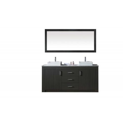 """Tavian 60"""" Double Bathroom Vanity Cabinet Set in Zebra Grey"""