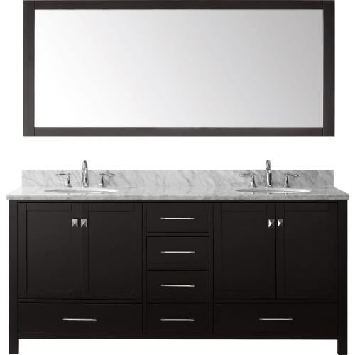 """Caroline Avenue 72"""" Double Bathroom Vanity Cabinet Set in Espresso"""