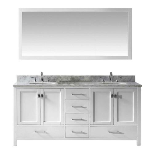 "Caroline Avenue 72"" Double Bathroom Vanity Cabinet Set in White"