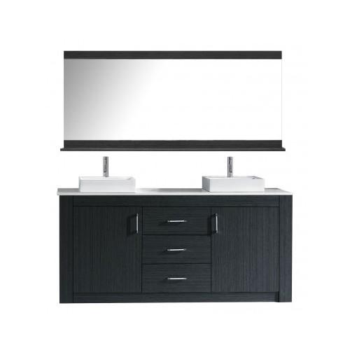 """Tavian 72"""" Double Bathroom Vanity Cabinet Set in Grey"""