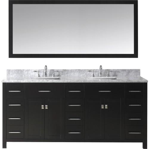 "Caroline Parkway 72"" Double Bathroom Vanity Cabinet Set in Espresso"