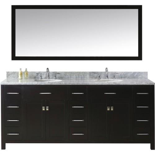 "Caroline Parkway 78"" Double Bathroom Vanity Cabinet Set in Espresso"