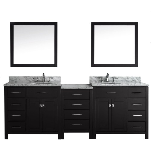 "Caroline Parkway 93"" Double Bathroom Vanity Cabinet Set in Espresso"