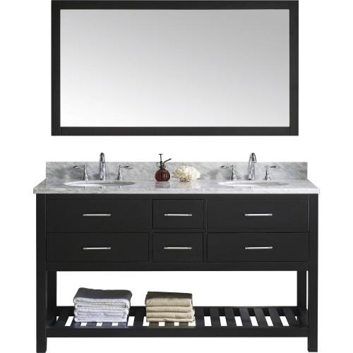 """Caroline Estate 60"""" Double Bathroom Vanity Cabinet Set in Espresso"""
