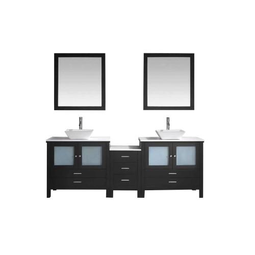 "Brentford 90"" Double Bathroom Vanity Cabinet Set in Espresso"
