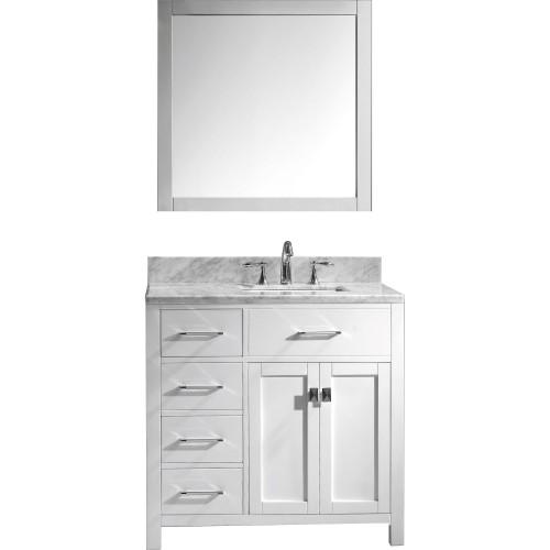 """Caroline Parkway 36"""" Single Bathroom Vanity Cabinet Set in White"""
