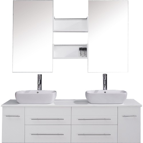 "Augustine 59"" Double Bathroom Vanity Cabinet Set in White"