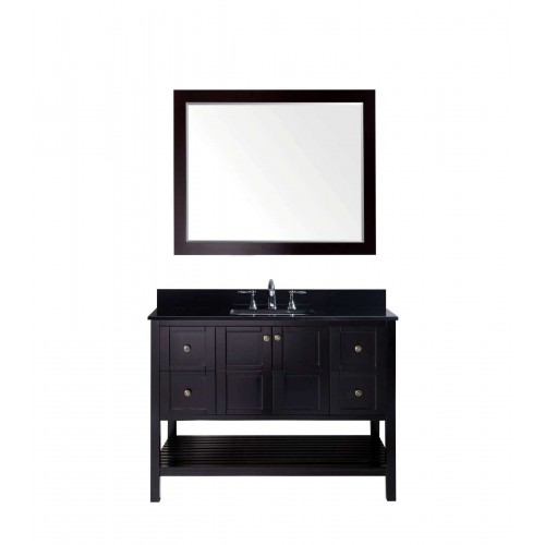 """Winterfell 48"""" Single Bathroom Vanity in Espresso with Black Galaxy Granite Top and Square Sink with Mirror"""