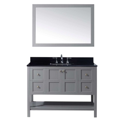 """Winterfell 48"""" Single Bathroom Vanity in Grey with Black Galaxy Granite Top and Square Sink with Mirror"""