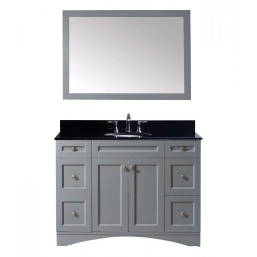 "Elise 48"" Single Bathroom Vanity in Grey with Black Galaxy Granite Top and Round Sink with Mirror"