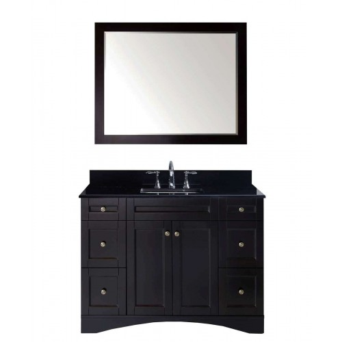 """Elise 48"""" Single Bathroom Vanity in Espresso with Black Galaxy Granite Top and Square Sink with Mirror"""