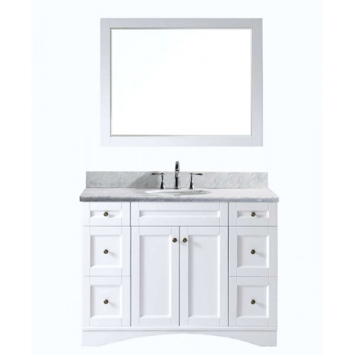 """Elise 48"""" Single Bathroom Vanity in White with Marble Top and Round Sink with Mirror"""