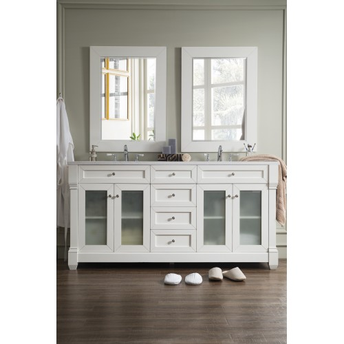 "Weston 72"" Double Vanity w/ Glass Doors, Cottage White w/ Arctic Fall Top"