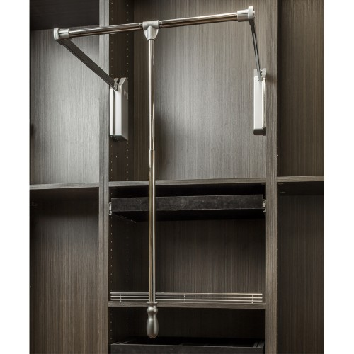 "Soft-close wardrobe lift 25-1/2"" expanding to 35"".  Polished"