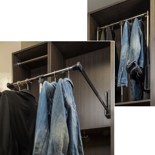 """33"""" Expanding to 48"""" Wardrobe Lifter Chrome Tubing with Blac"""