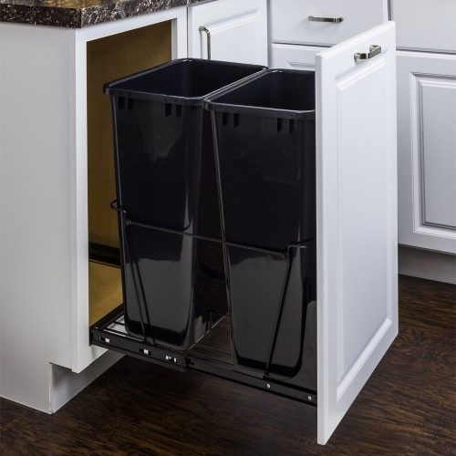 50-Quart Double Pullout Waste Container System.