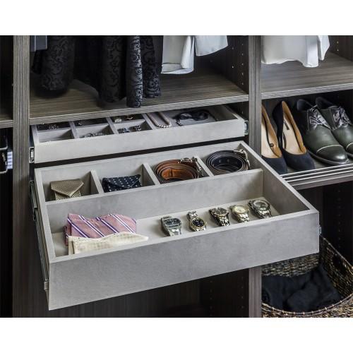 5 compartment gray felt jewelry organizer.