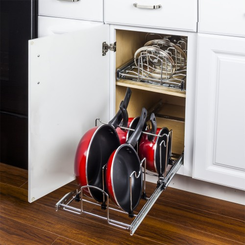 "Pots and Pans Pullout Organizer for 15"" Base Cabinet."