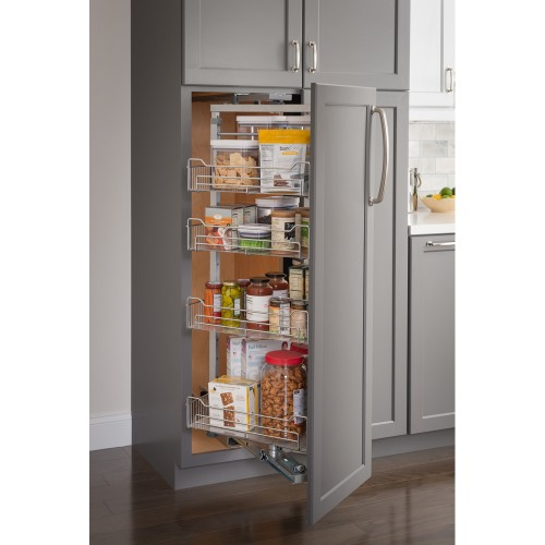 """15"""" Chrome wire pantry pullout with swingout feature with he"""
