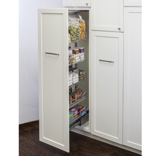 """12"""" Chrome wire pantry pullout with heavy-duty soft-close sl"""