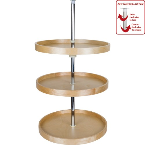 """20"""" Round Banded Lazy Susan Set (3 shelves) with Twist and L"""
