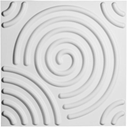 "19 5/8""W x 19 5/8""H Spiral EnduraWall Decorative 3D Wall Panel, White"