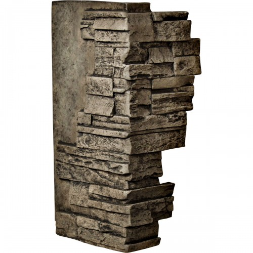 "12""W Board Side & 11""W Finger Side x 25""H x 1 1/2""D Dry Stack Endurathane Faux Stone Outer Corner Siding Panel, Grey"