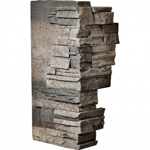 """12""""W Board Side & 11""""W Finger Side x 25""""H x 1 1/2""""D Dry Stack Endurathane Faux Stone Outer Corner Siding Panel, Platinum"""