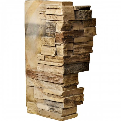 """12""""W Board Side & 11""""W Finger Side x 25""""H x 1 1/2""""D Dry Stack Endurathane Faux Stone Outer Corner Siding Panel, Saturn"""