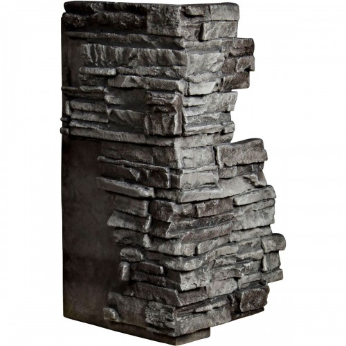 """13 3/4""""W Board Side & 12 1/2""""W Finger Side x 25""""H x 1 1/2""""D Stacked Endurathane Faux Stone Outer Corner Siding Panel, Slate"""