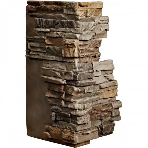 "13 3/4""W Board Side & 12 1/2""W Finger Side x 25""H x 1 1/2""D Stacked Endurathane Faux Stone Outer Corner Siding Panel, Terrastone"