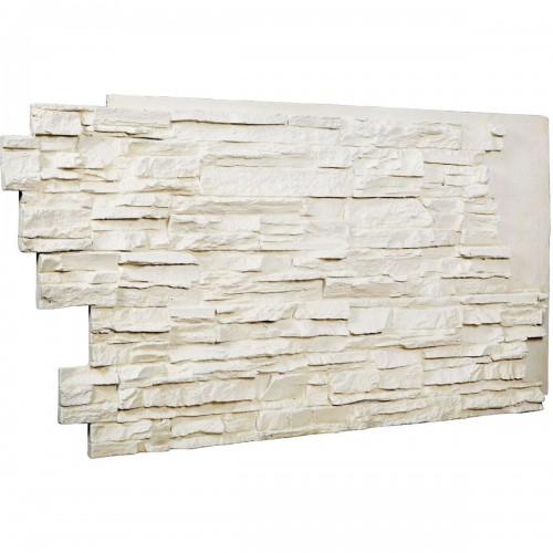 """48""""W x 25""""H x 1 1/2""""D Stacked Endurathane Faux Stone Siding Panel, Dove White"""