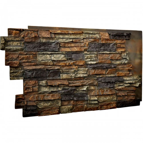 "48""W x 25""H x 1 1/2""D Stacked Endurathane Faux Stone Siding Panel, Redstone"