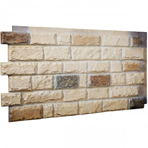 "48""W x 25""H x 1 1/2""D Cut Coarse Random Endurathane Faux Rock Siding Panel, Sonora Desert"